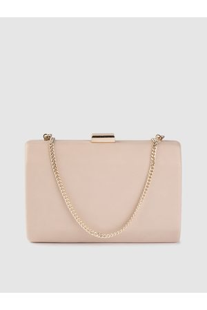 Forever New Women Nude-Coloured Solid Box Clutch with Shoulder Strap