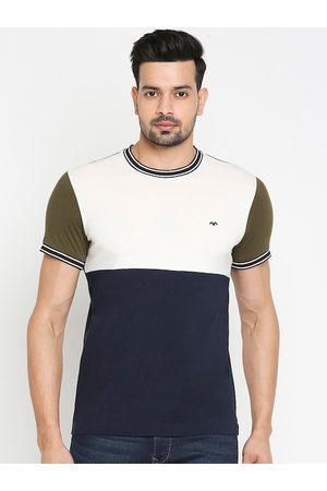 Mufti Men Navy Blue & Cream Colourblocked Round Neck T-shirt