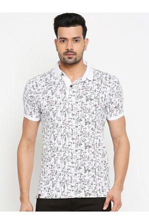 Mufti Men White & Black Slim Fit Printed Polo Collar Cotton T-shirt
