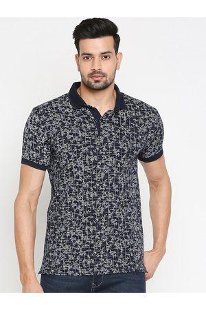 Mufti Men Navy Blue Printed Polo Collar T-shirt