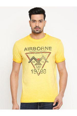 Mufti Men Yellow Printed Round Neck Cotton T-shirt