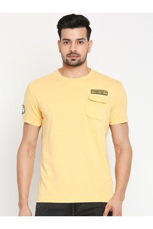 Mufti Men Mustard Solid Round Neck T-shirt