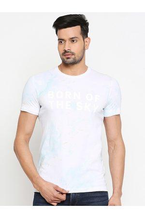 Mufti Men White Printed Round Neck T-shirt