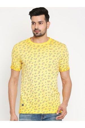 Mufti Men Yellow Printed Slim Fit Round Neck Cotton T-shirt