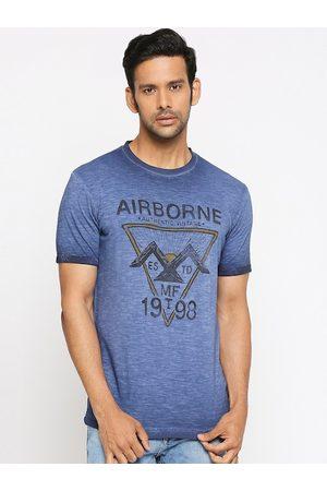 Mufti Men Blue Printed Round Neck T-shirt