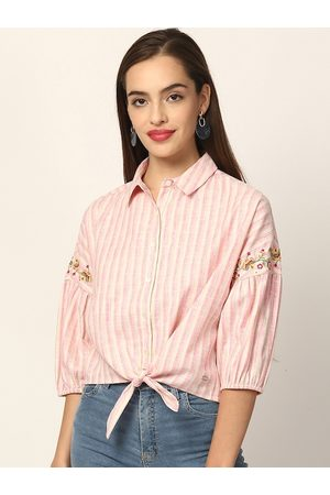 Elle Pink & Yellow Striped Shirt Style Top