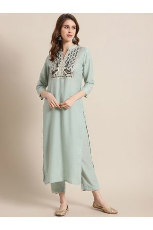 Varanga Women Sea Green Yoke Design Kurta with Trousers