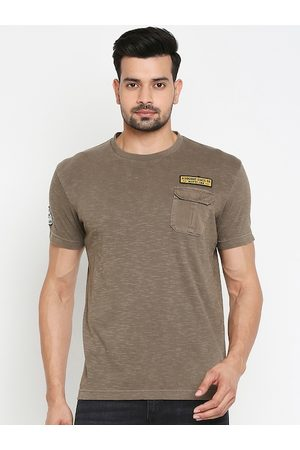 Mufti Men Olive Green Solid Round Neck T-shirt