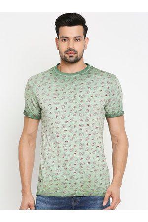 Mufti Men Green Printed Round Neck T-shirt