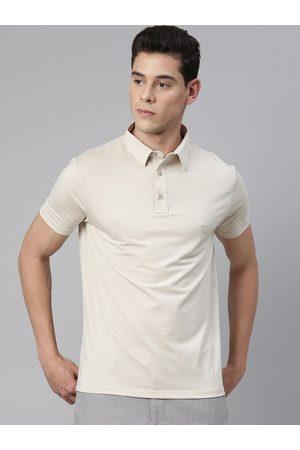 RARE RABBIT Men Beige Solid Polo Collar T-shirt