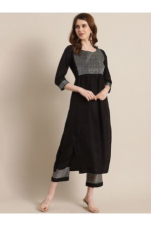 Varanga Women Black Yoke Design Kurta with Trousers