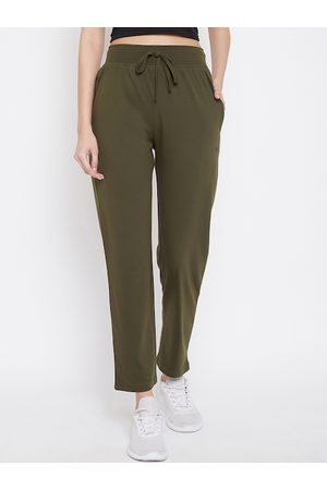Okane Women Olive Green Solid Track Pants