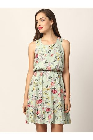 Elle Women Green Floral rinted Fit and Flare Dress