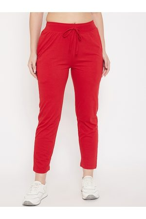 Okane Women Red Solid Slim Fit Track Pant