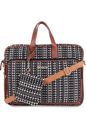 ASTRID Women Black & White Textured Laptop Bag With Accessory Pouch