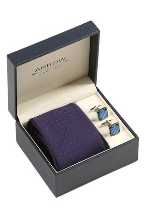 Arrow Men Navy Blue & Red Patterned Accessory Gift Set