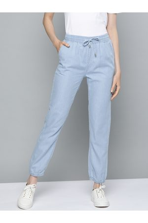 Chemistry Women Joggers - Women Blue Regular Fit Solid Chambray Joggers