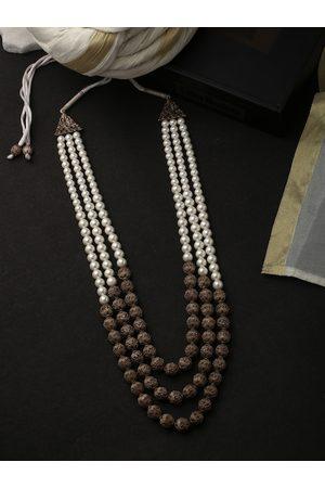 COSA NOSTRAA Men White & Brown Brass Antique Necklace