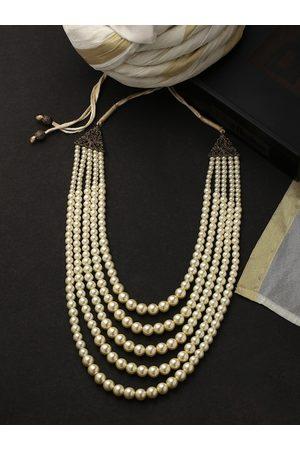 COSA NOSTRAA Men Off-White & Copper-Toned Brass Pearl Necklace