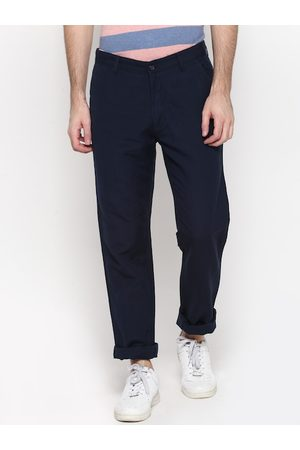 Cantabil Men Navy Blue Straight Fit Solid Chinos