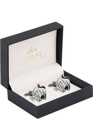 Alvaro Castagnino Men Cufflinks - Silver-Toned & Black Contemporary Cufflinks