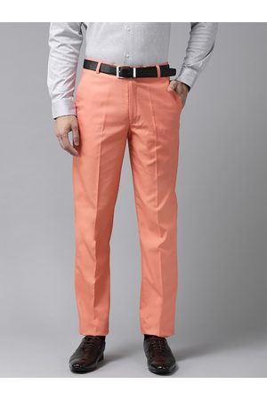 Hangup Men Peach-Coloured Regular Fit Solid Formal Trousers