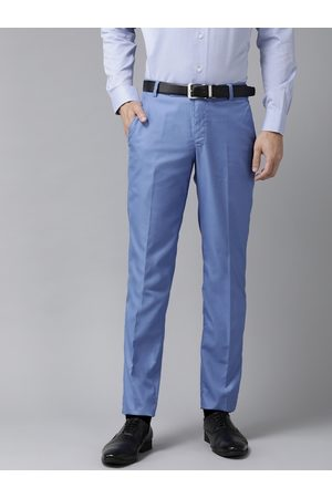 Hangup Men Formal Trousers - Men Blue Solid Regular Fit Formal Trousers