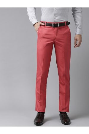 Hangup Men Coral Red Regular Fit Solid Formal Trousers