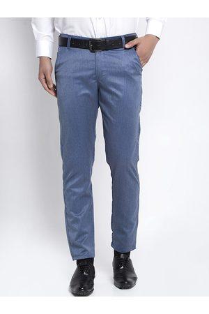 JAINISH Men Blue Slim Fit Solid Formal Trousers