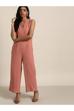 all about you Women Dusty Pink Solid Wrap Jumpsuit