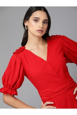 MISH Women Red Solid Puffed Sleeve Wrap Dress with Ruffles