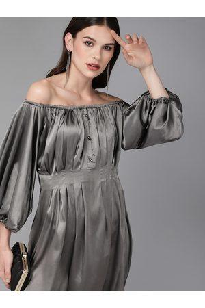 MISH Women Charcoal Grey Solid Pleated Off Shoulder Sheath Dress