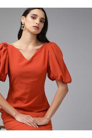 MISH Women Rust Solid Puffed Sleeve Sheath Dress