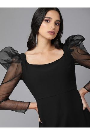 MISH Women Black Solid Puff Sleeve Sheath Dress