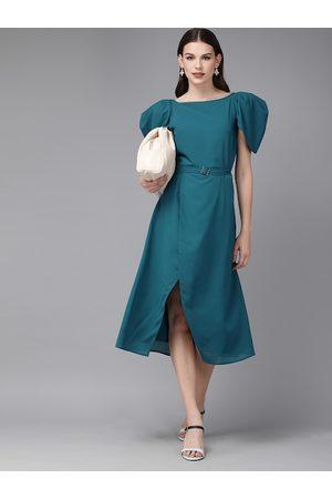 MISH Women Dresses - Women Teal Blue Solid Tulip Hem A-Line Dress
