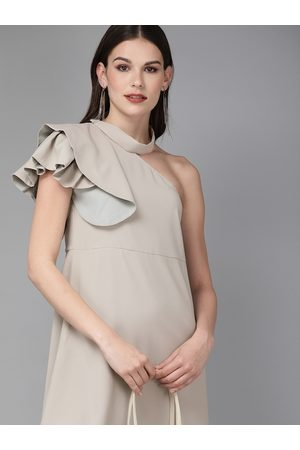 MISH Women Grey Solid One Shoulder A-Line Dress