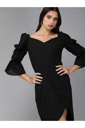 MISH Women Black Solid Tulip Hem Wrap Dress