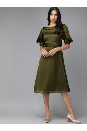 MISH Women Dresses - Women Olive Green Solid Boat Neck A-Line Dress
