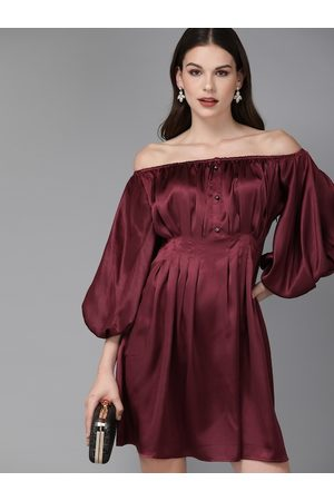 MISH Women Burgundy Solid Off-Shoulder Pleated Fit and Flare Dress