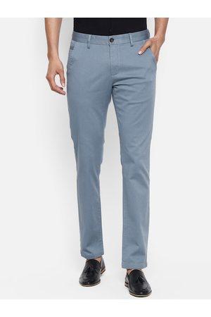 Pantaloons Men Teal Green Slim Fit Solid Chinos