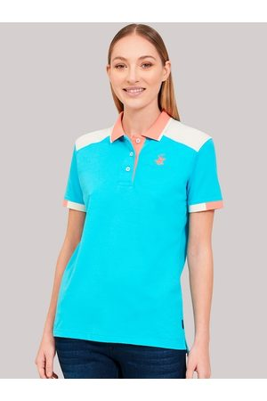 Beverly Hills Polo Club Women Blue Solid Polo Collar T-shirt