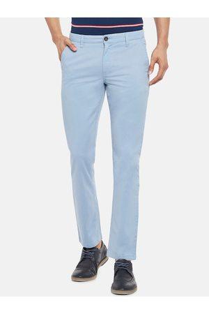 Pantaloons Men Blue Slim Fit Solid Regular Trousers