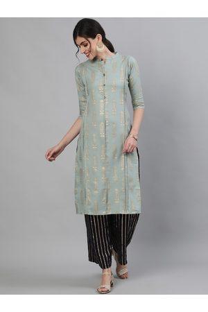 Ishin Women Sea Green Self Design Kurti with Trousers