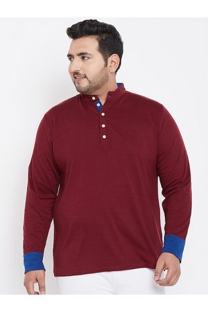 Bigbanana Plus Size Men Maroon Solid Mandarin Collar T-shirt