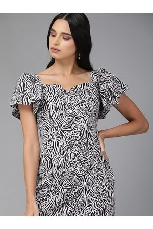 MISH Women White & Black Animal Printed Sheath Dress