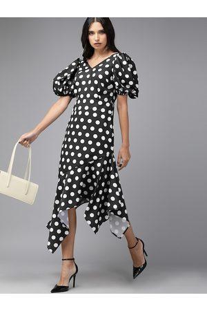 MISH Women Black & White Polka Dots Printed Sheath Dress