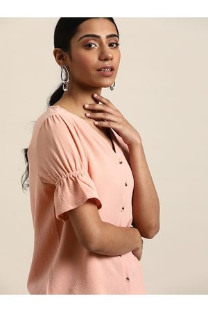 all about you Women Peach-Coloured Bell Sleeves Top