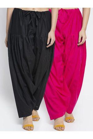 GRACIT Women Pack Of 2 Black & Pink Solid Salwars