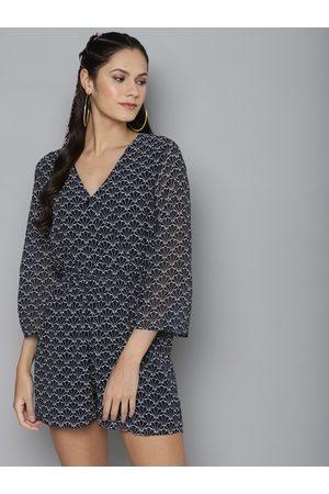 Sassafras Women Navy Blue & Off-White Geometric Printed Playsuit