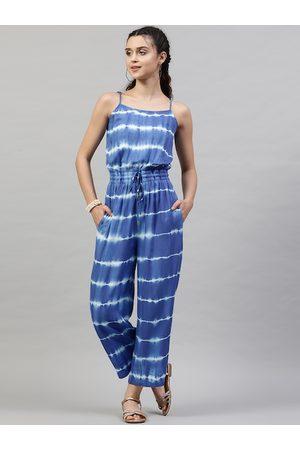 STREET 9 Women Blue & White Striped Basic Jumpsuit